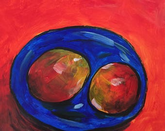 Two Mangos on blue plate
