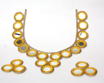 Indian Yoke Neck Applique, Mirror Work , Ethnic Applique, Kurti, Salwar Kameez,Yellow and Gold Banjara Belly Dance Costume