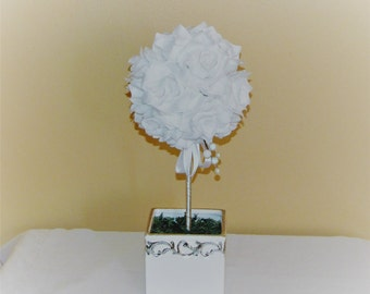 Wedding centerpiece Pomander Ball Open rose topiary Wedding Flower Decoration Kissing Ball Centerpiece wedding silk flower centerpiece