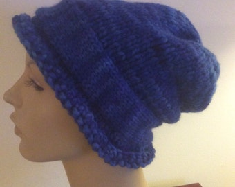 Beanie/Slouch Adult Hat Hand Knit Wool/Silk