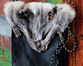 Fox fur and leather pouch - eco friendly recycled leather, Arctic fox face, yarn bag purse pocket