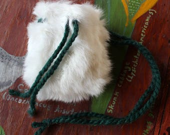 White rabbit fur pouch with yarn cords for crystals, herbs, medicine, more