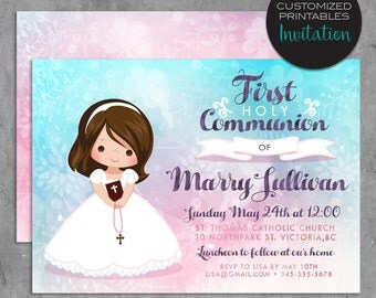 First Communion Invitation. Custom Printable Holly Communion Design with watercolor background, pink blue religious greeting card.