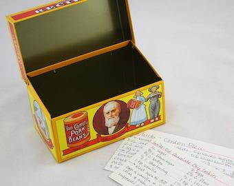 Van Camp's Pork and Beans Metal Recipe Card Box c. 1986