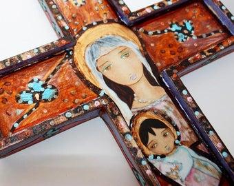 Mary with Rosary -  Wall Cross Mixed Media Art by FLOR LARIOS