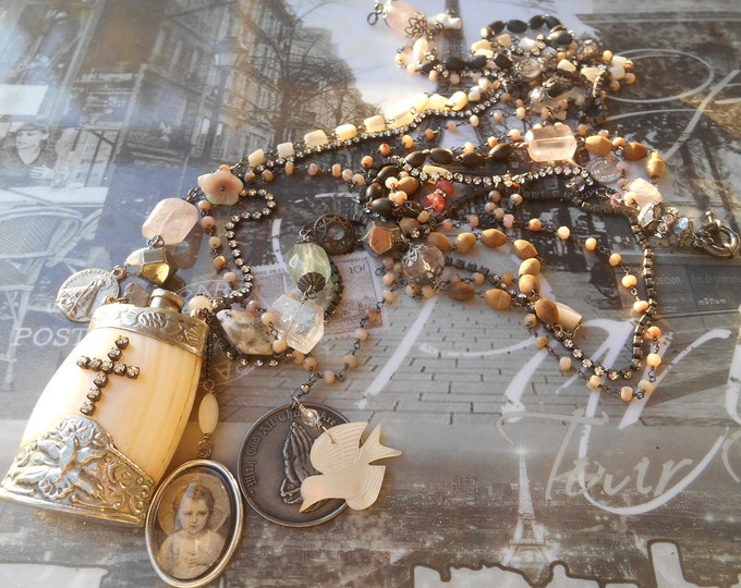 Antique Mother Pearl Perfume Flask On the Wings of Love Necklace