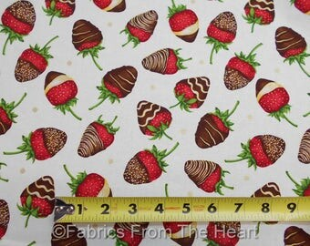 Strawberrys Chocolate Covered Fruit Sweets on Cream BY YARDS Henry Glas Fabric