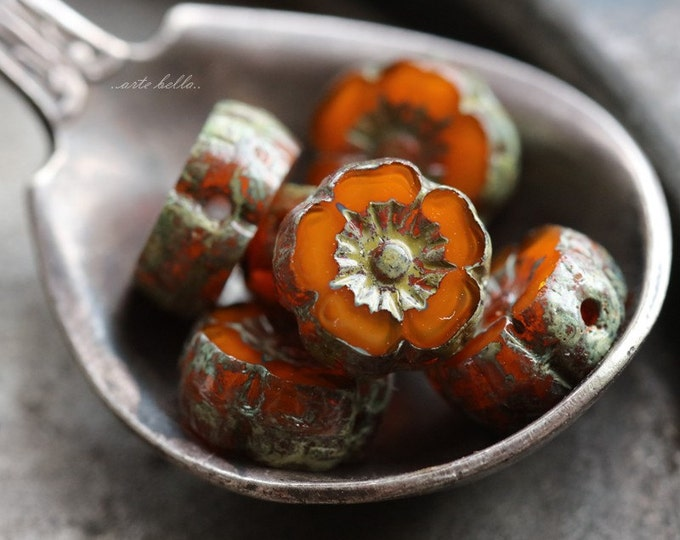 MANGO BLOOMS No. 2 .. 6 Picasso Czech Glass Flower Beads 8mm (5182-6)