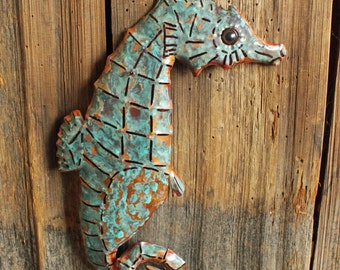 Seahorse - copper metal sea creature art sculpture - wall hanging - with turquoise blue patina - OOAK