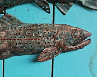Cutthroat Trout - holey copper metal salmon freshwater game fish art sculpture - wall hanging - turquoise-blue and red-brown patinas - OOAK