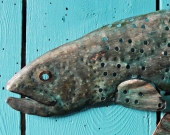 Cutthroat Trout - holey copper metal salmon freshwater game fish art sculpture - wall hanging - turquoise-blue patina - OOAK