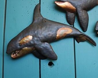 Orca Killer Whale I - copper metal blackfish marine mammal art sculpture - wall hanging - with slate-black verdigris patina - OOAK