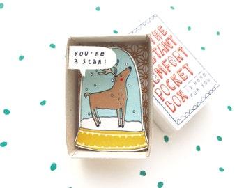 The CHRISTMAS Instant Comfort Pocket Box  - Proud reindeer - holiday season - christmas stockingstuffer