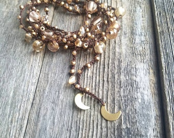 Beaded Crescent Moon Lariat Necklace Wrap Bracelet Cream Gold and Chocolate Brown Beaded Necklace Bead Bracelet Belt Headband- MADE TO ORDER