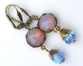 Fire Opal Earrings, Pink Glass Earrings, Glass Opal Earrings, Blue Dangle Earrings, Vintage Harlequin Earrings, Every Day Earrings