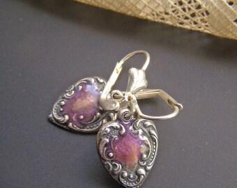 Dangle Earrings, Purple Heart Earrings, Silver Heart Earrings, Small Heart Earrings, Drop Earrings, Vintage Style Earrings,