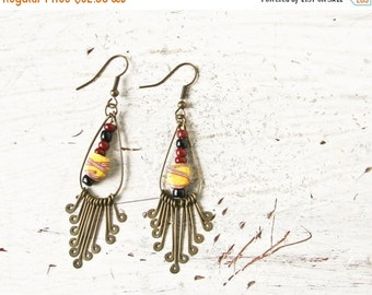 Sale BoHo Brass Dangle earrings, Trade Beads, Southwest Jewelry