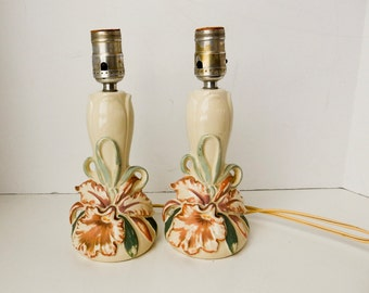 Bedroom lamps, Nightstand Lamps, Vintage Table Lamps, Flower Lamps, 2 Lamps