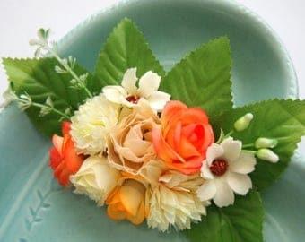 Peach Fairy Floral Barrette -  Statement Piece Unique Woodland Fantasy OOAK Fae Wedding