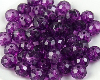 Glass Bead 12 Purple Rondelle Faceted 10mm x 7mm (1014gla10p2)
