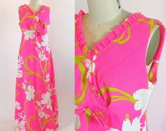 Vintage 1960s Hawaiian Dress | Liberty House Maxi Dress | Medium - Large