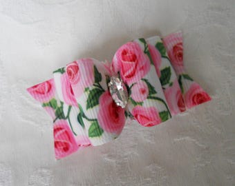 "Dog Bows-7/8""Pink Roses Double Loop Dog Bow"