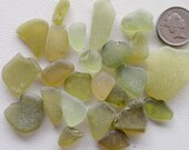 English sea glass colour (CHIPPED) all shades of lime 22 pieces