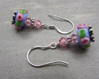 Lampwork Earrings Dainty Blue with Pink Flower Earrings Glass Bead Earrings Dangle Drop Earrings SRAJD USA Handmade