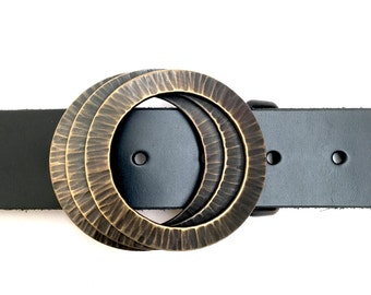 Hammered brass Belt Buckle -  Brass TextureTunnel by STS - forged belt buckle - buckle for snap belt - interchangeable - rings -