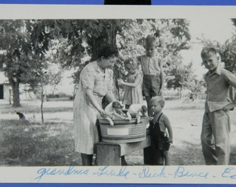 Puppies in a Wash Tub Surrounded by Children 1941 B & W Photo Snapshot 15965