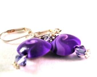 Earrings Handmade, Silver Earrings, Dangle Earrings, Polymer Earrings, Ready to Ship, Drop Earrings, Purple Earrings, Statement Earrings