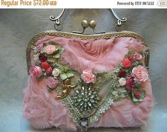 30% OFF Spring Cleaning PURSE Handbag Handmade Whimsical Romantic Fairylike Glamgirl Weddings - Rose Pink