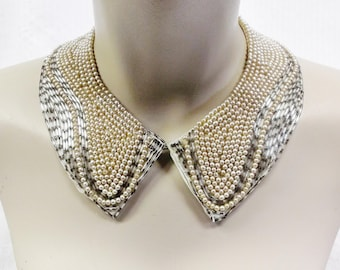 50s 60s Vintage Beaded and Faux Pearl Collar