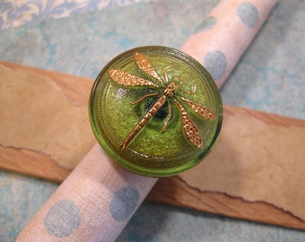 Czech Glass Dragonfly Adjustable Finger Ring in Antique Gold designed by Mary Louise