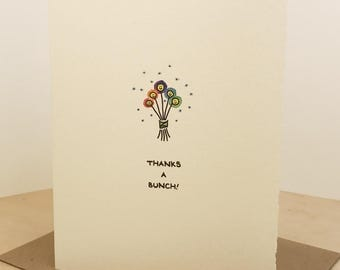 Thanks A Bunch Card Cute Bouquet Gratitude Flowers Nice Sweet Friend Adorable Made in Toronto Canada  Smiley Face