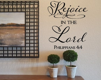 Rejoice in the Lord Wall Decal/Wall Words/Wall Transfer/Vinyl Lettering