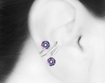 Pastel Swarovski Crystal Ear Cuff, Right Ear Cuff, No Piercing Cartilage Earring, Vitrail Light Swarovski Crystal, Event Horizon III v13