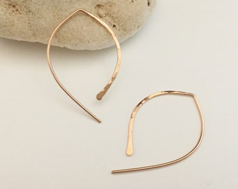 Rose Gold Hammered Arc Earrings. Pink. Simple. Textured. Thread Thrus. Large (E037RG-L) wire jewelry by cristysjewelry on etsy