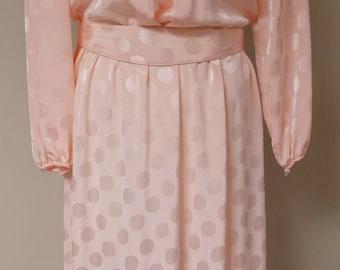 Vintage dress light pink large polka dot shiny pink Toni Todd long sleeve elastic waist M 38