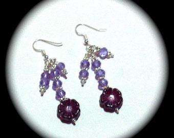 Passionite Purple Czech Glass Flowers Long Dangle Fashion Earrings for Every Day Wear boho gypsy native  gift spring summer  southwestern