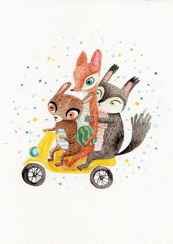 Yellow scooter print - animals on scooter A4 print