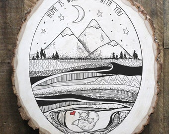 Home is wherever I'm with you foxhole illustration on reclaimed wood