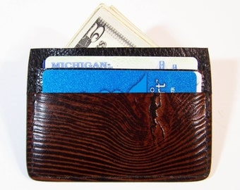 Leather Credit Card Case/Thin Wallet - Use for Credit Cards, Drivers License etc. - Wood Grain Design
