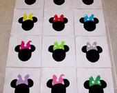 """Set of 12 Minnie Mouse w/Bows  6"""" x 6""""  Cotton Quilt Blocks"""