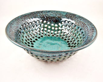 Teal blue pottery fruit bowl with hand carved peacock feather design, Unique modern ceramic gift for home decor - In stock B