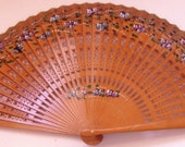 Japanese Hand Held Bamboo Slat Folding Fan with Hand Painted Floral Accents