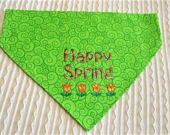 Dog Bandana for Spring with Tulips Over the Collar Style M to XL
