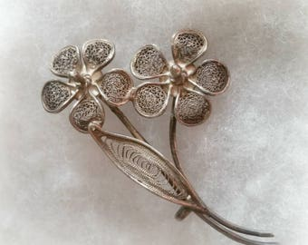 800 Silver Pin Filigree Flowers old vintage jewelry, C clasp handmade wirework, small dainty size