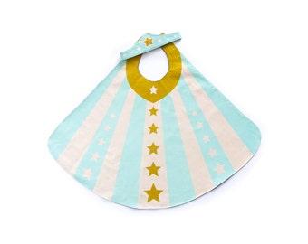 Ready to Ship Super Girl Cape and Tiara - Super Hero Cape Set - Mint Super Cape - Ice Princess Costume - Birthday Gift Girl - Gold Stars