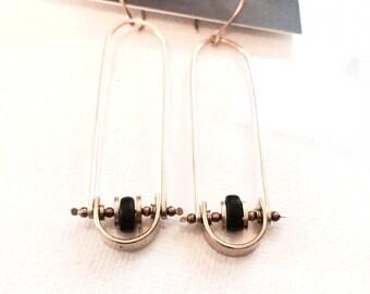 Modern Black and Gold Swing Earrings